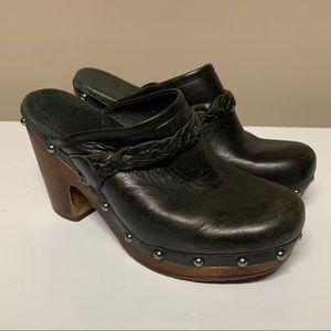 UGG Kaylee Black Leather Studded Clogs Mules